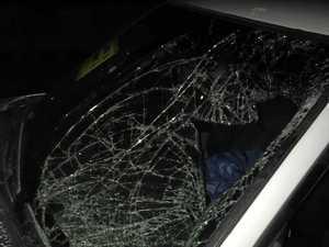 Smashed car on Stoney Creek Rd