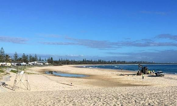 BAD SMELL: Council is working on stopping rancid water from gathering on Kingscliff Beach .