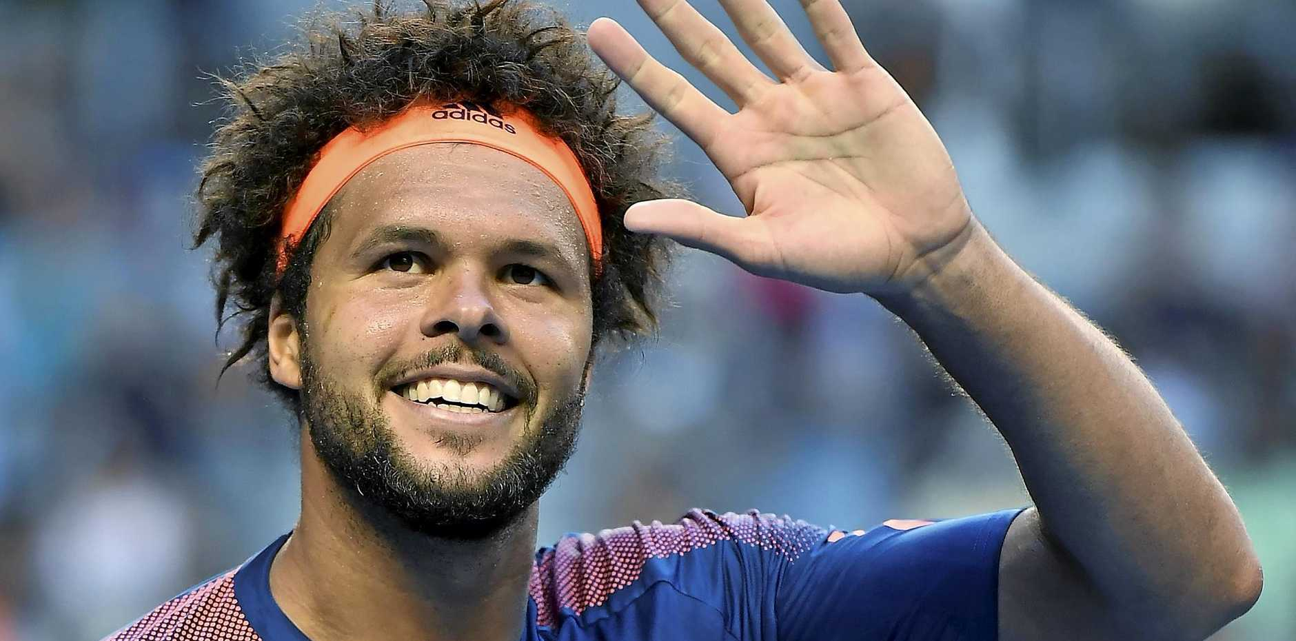 France's Jo-Wilfried Tsonga after defeating Britain's Daniel Evans during their fourth round match at the Australian Open
