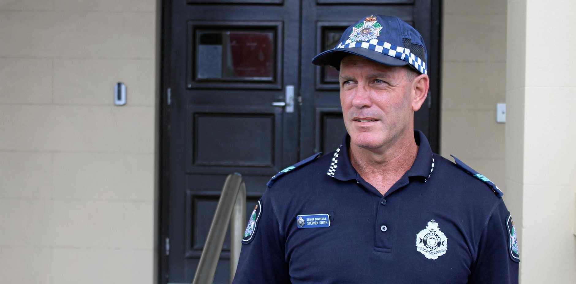 Mackay police Senior Constable Steve Smith is pleading with bicycle riders to wear a helmet after his son smashed his head on the pavement in a crash, but avoided serious head injuries because he was wearing a helmet.