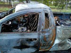 Police vehicles damaged and two cars set on fire in CBD chase