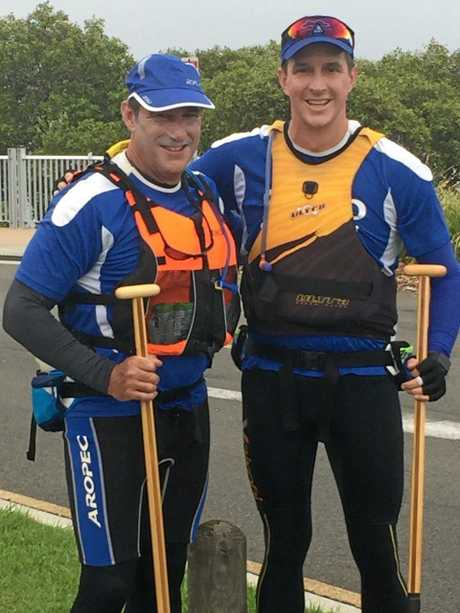 David Pavia (left) and Adam Scott before hitting the water for the Tugun to Caloundra paddle which raised $10,000 for the White Cloud Foundation, a charity Adam started to provide early intervention services for people at risk of depression.