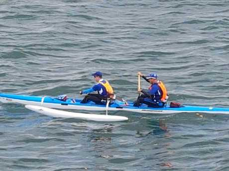 Adam and David during their marathon paddle.