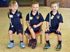 First day of school for keen Highfields triplets