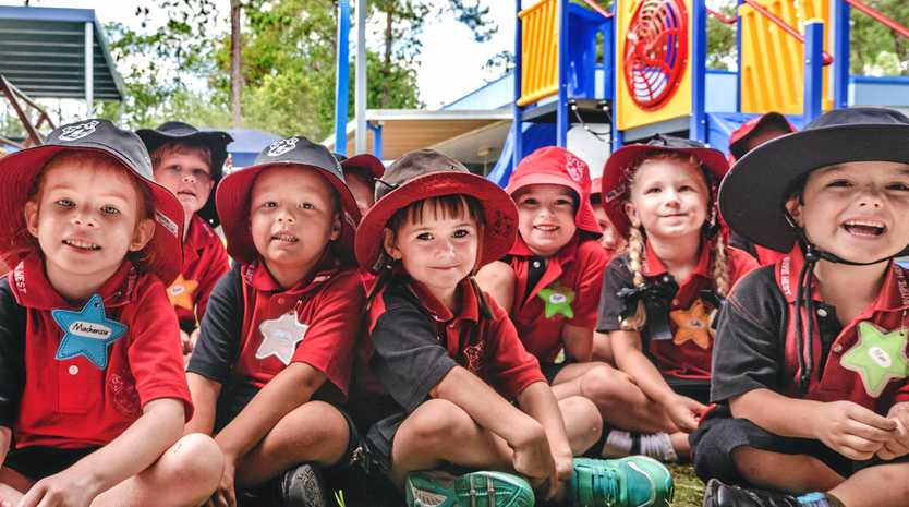 FRESH FACES: The Prep K class at Gympie West State School on their first day (from left) Mackenzie Walker, Lincolne Lahiff, Kaelee Faint, Ryan Gilbert, Tully Bell and Max Hannaford.