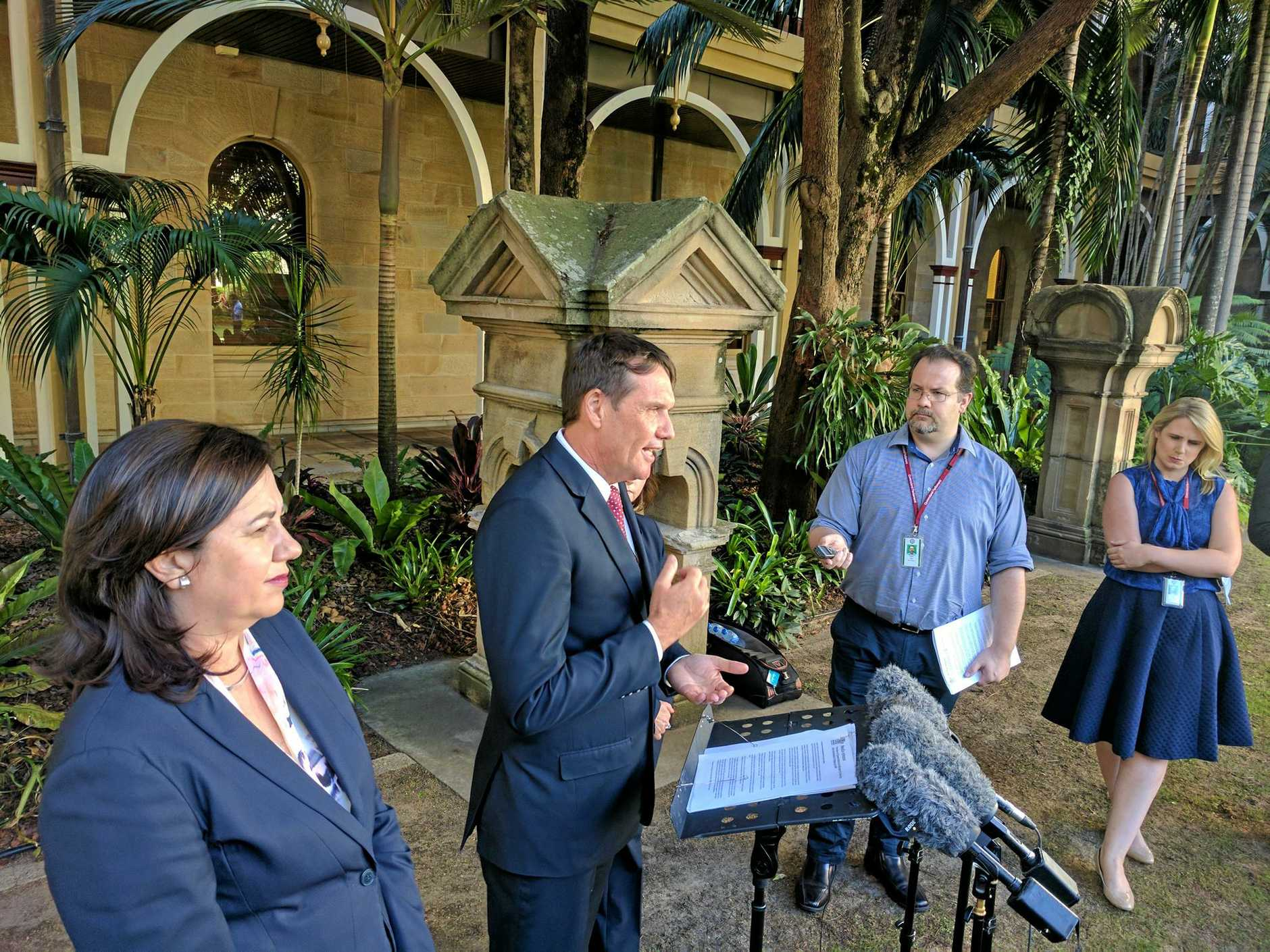 State Development Minister Anthony Lynham and Premier Annastacia Palaszczuk announcing planned lockout laws would not be introduced.