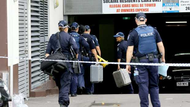 Forensic crime scene police arrived at the underground carpark of the Solaire Apartments on the corner of Ferny Avenue and Cypress Avenue, Surfers Paradise