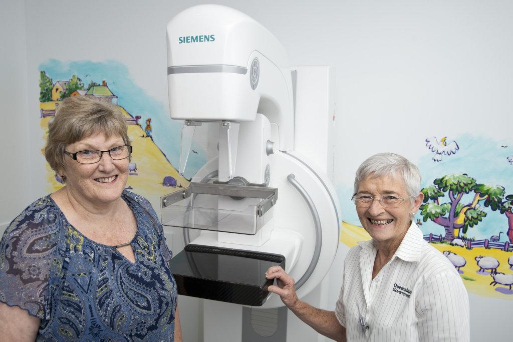 MILESTONE SCREENING: Pamela Boulton was the 350,000th screen at the BreastScreen Queensland Toowoomba Serivce, with her radiographer Carmel Doolan.