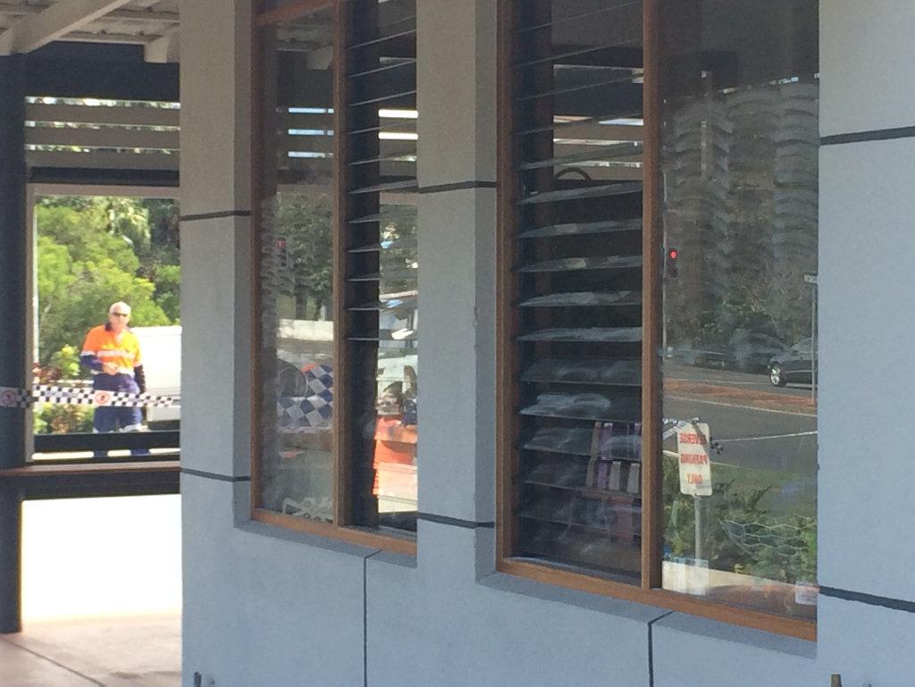 Fingerprint dust on windows at North Coffee.
