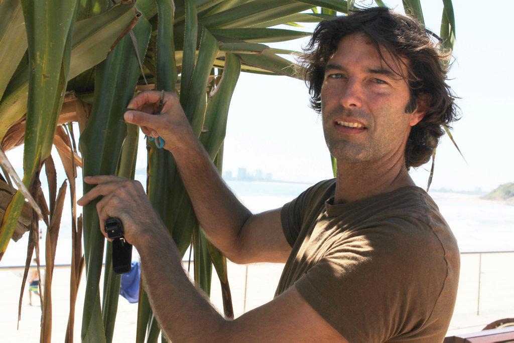 Joel Fostin with a pandanus tree on the Sunshine Coast.