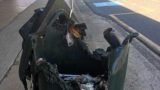I'M MELTING: Firefighters extinguished a bin on fire on Targo St on Sunday.