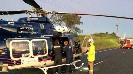 RACQ CQ Rescue at the crash north of Calen.