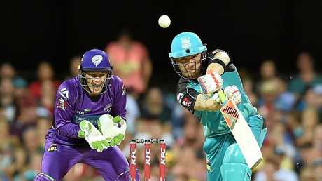 Brendon McCullum plays a shot during the Big Bash League match
