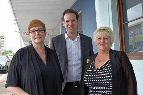 Defence Minister Marise Payne, Northern Australia Minister Matt Canavan and Capricornia MP Michelle Landry outside Ms Landry's office.