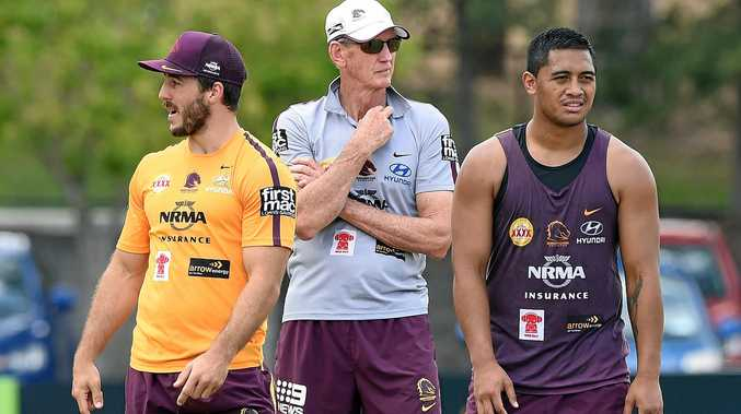 (From left) Ben Hunt, Wayne Bennett and Anthony Milford during a Broncos training session in Brisbane.