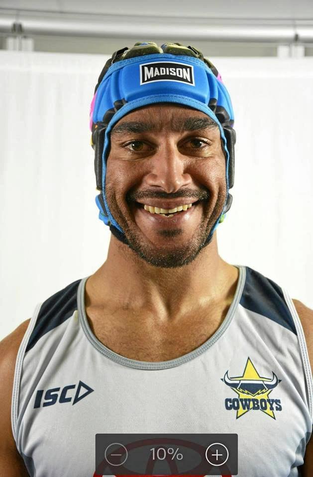 WHO ELSE: Johnathan Thurston proudly wears the James Ackerman Legacy headgear.