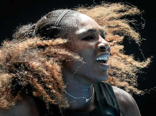 Serena Williams of USA in action against Barbora Strycova of the Czech Republic during round four at the Australian Open.