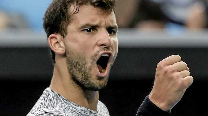 Grigor Dimitrov of Bulgaria during his win over Denis Istomin of Uzbekistan during round four of the Australian Open.