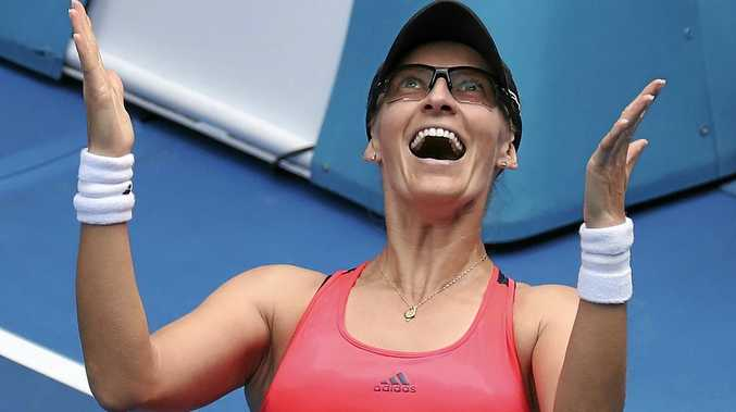 Croatia's Mirjana Lucic-Baroni celebrates her win over American Jennifer Brady in their fourth-round match at the Australian Open.