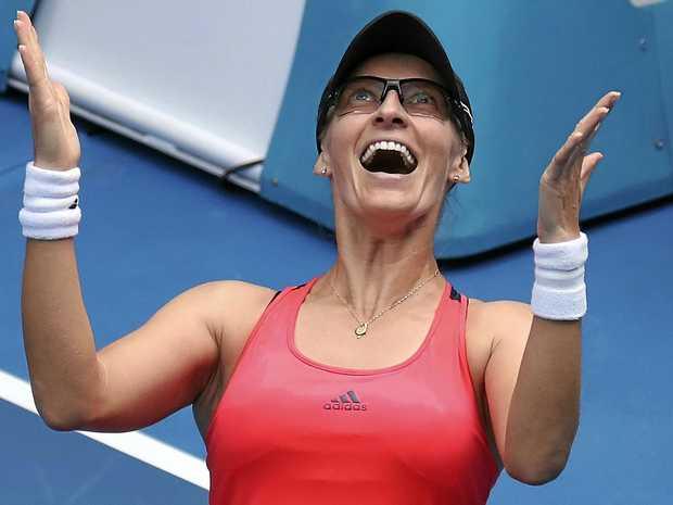 Croatia's Mirjana Lucic-Baroni celebrates her win over American Jennifer Brady in their fourth-round match at the Australian Open.