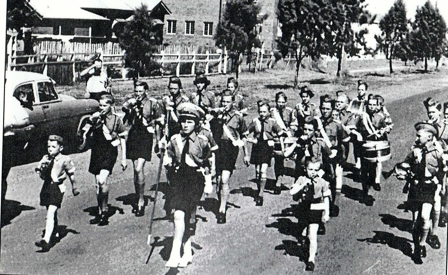 The Wooloorin State School Bugle Band's first performance at an Anzac Day march in 1959.Photo Contributed