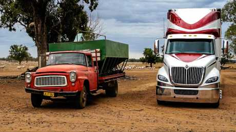 OLD AND NEW: Old International trucks are still working on farms throughout Australia.