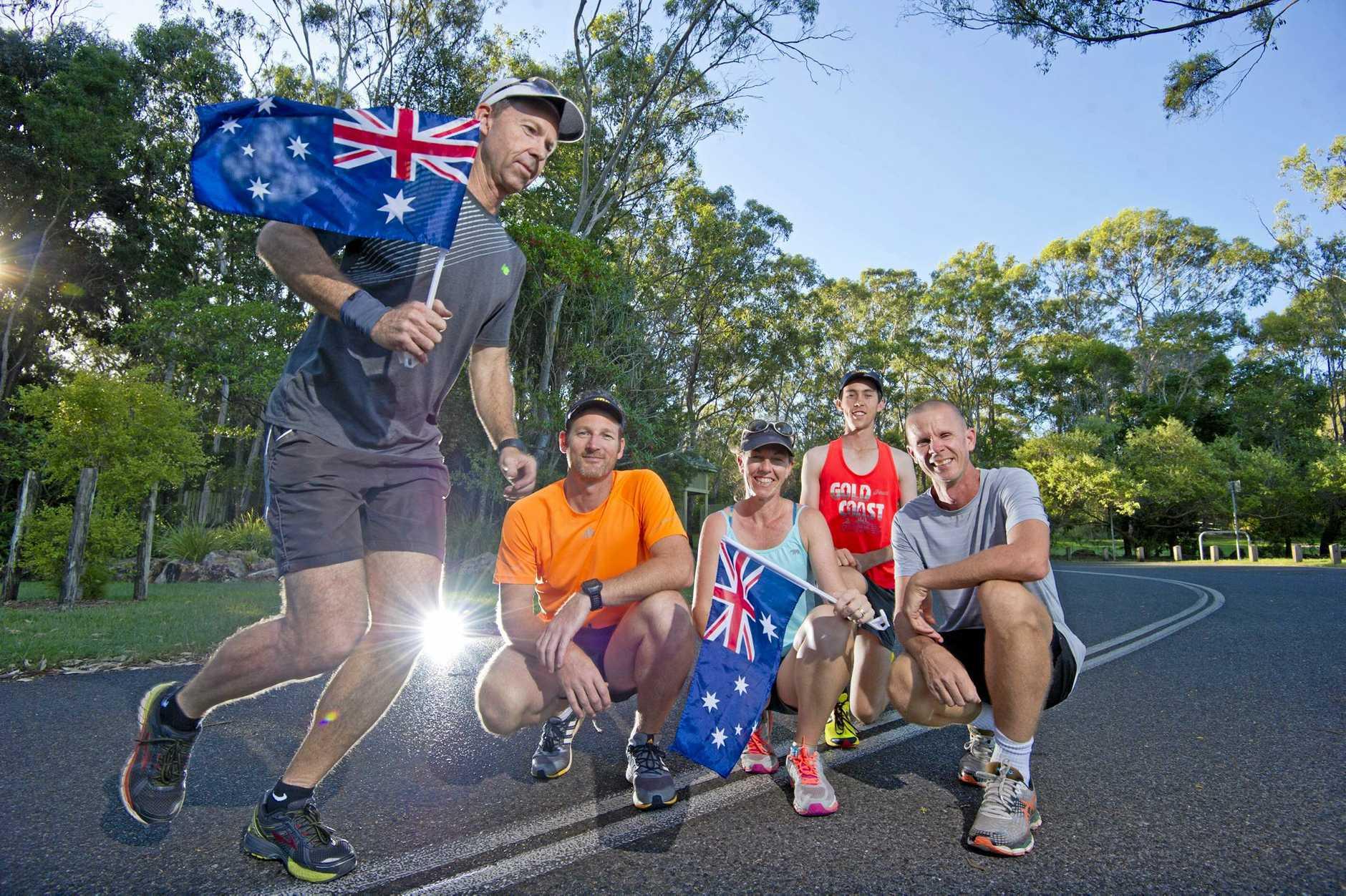 AUSTRALIA DAY FUN RUN: Greg Hage, Tony Smith, Charmain Thompson, Troy Elliott and Jack Smith.