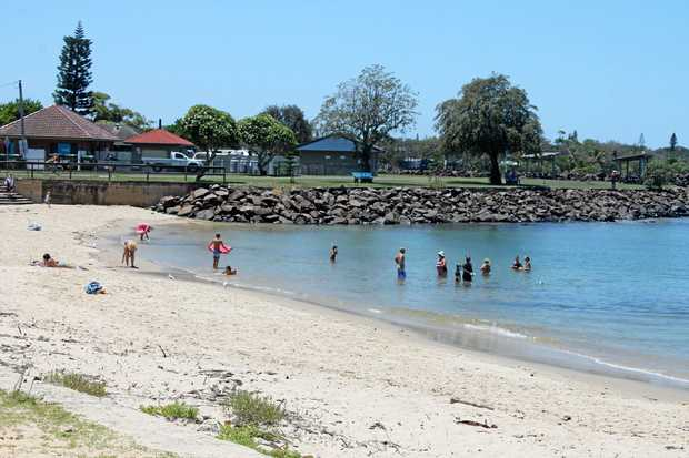 MORE NETS: Ballina Shire councillor Phil Meehan would like the State Government to consider installing a shark eco-barrier at the river beach near the Shaws Bay Caravan Park.
