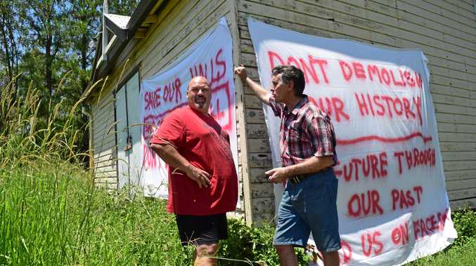 SAVE OUR HALLS: Kyogle residents Tony Zammit and Steve Bell outside Cedar Point Hall.