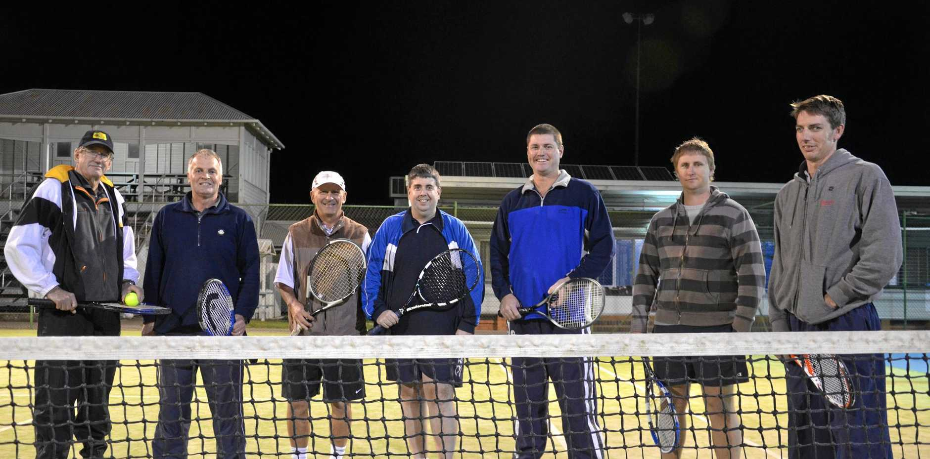 Terry Butler, Kevin Lind, Rob Quinton, Nathan Costello, Glen Hoffman, Daniel Doherty and Matthew Sharp at the Warwick Tennis Club.