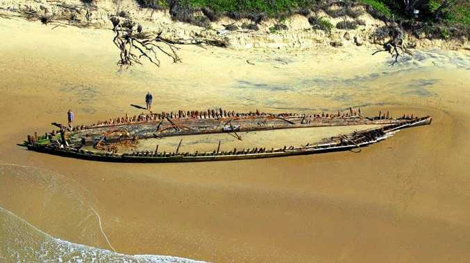 ICONIC SHIPWRECK: The Buster at Woolgoolga Main Beach exposed in 2013.