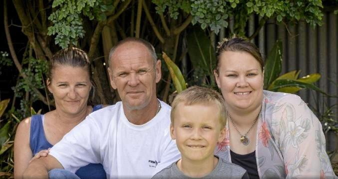 SAVED: David Bryant with wife Wendy, son Aydn and daughter Jade home at Whyalla.