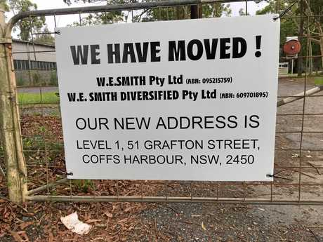 A sign was put up at the front of the W.E Smith factory at Boambee which stated it had now moved to a Grafton St address. January 25, 2017.