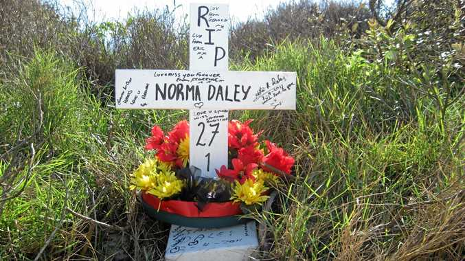 A shrine to Lynette Daley near the scene of her death on 10 Mile Beach.