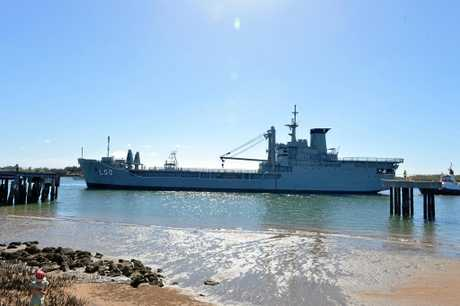 The ex-HMAS Tobruk arrived in Bundaberg late last year.