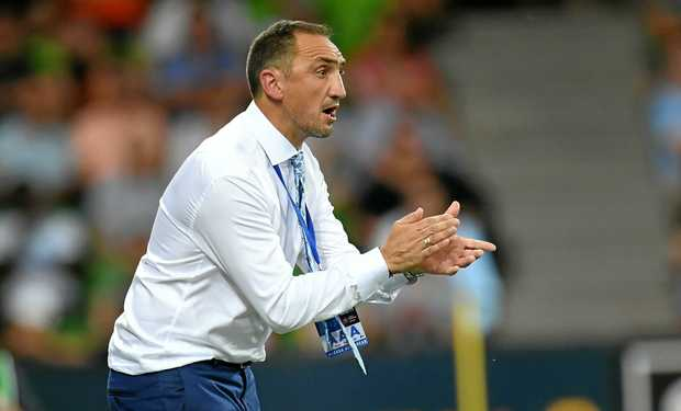 Interim City coach Michael Valkanis during the round 14 A-League match between Melbourne City and the Western Sydney Wanderers at AAMI Park