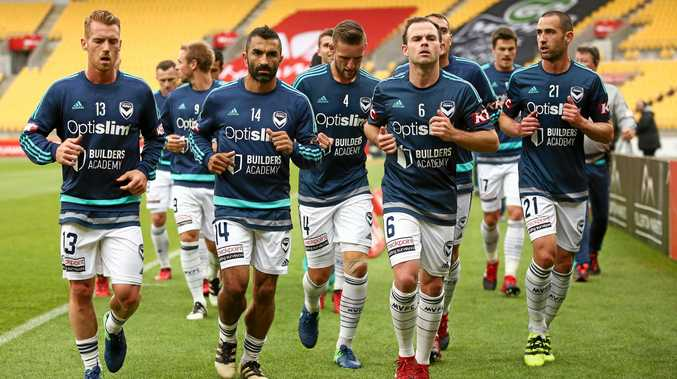 Oliver Bozanic, Fahid Ben Khalfallah, Nick Ansell, Leigh Broxham and Carl Valeri during a Melbourne Victory training session.