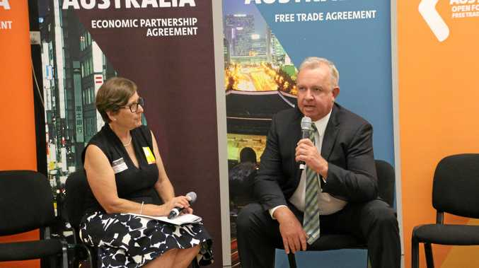 CHEERS TRUMP: TradeStart adviser Geraldine Doumany and Oakey Beef Exports general manager Pat Gleeson at the Free Trade Agreement seminar.