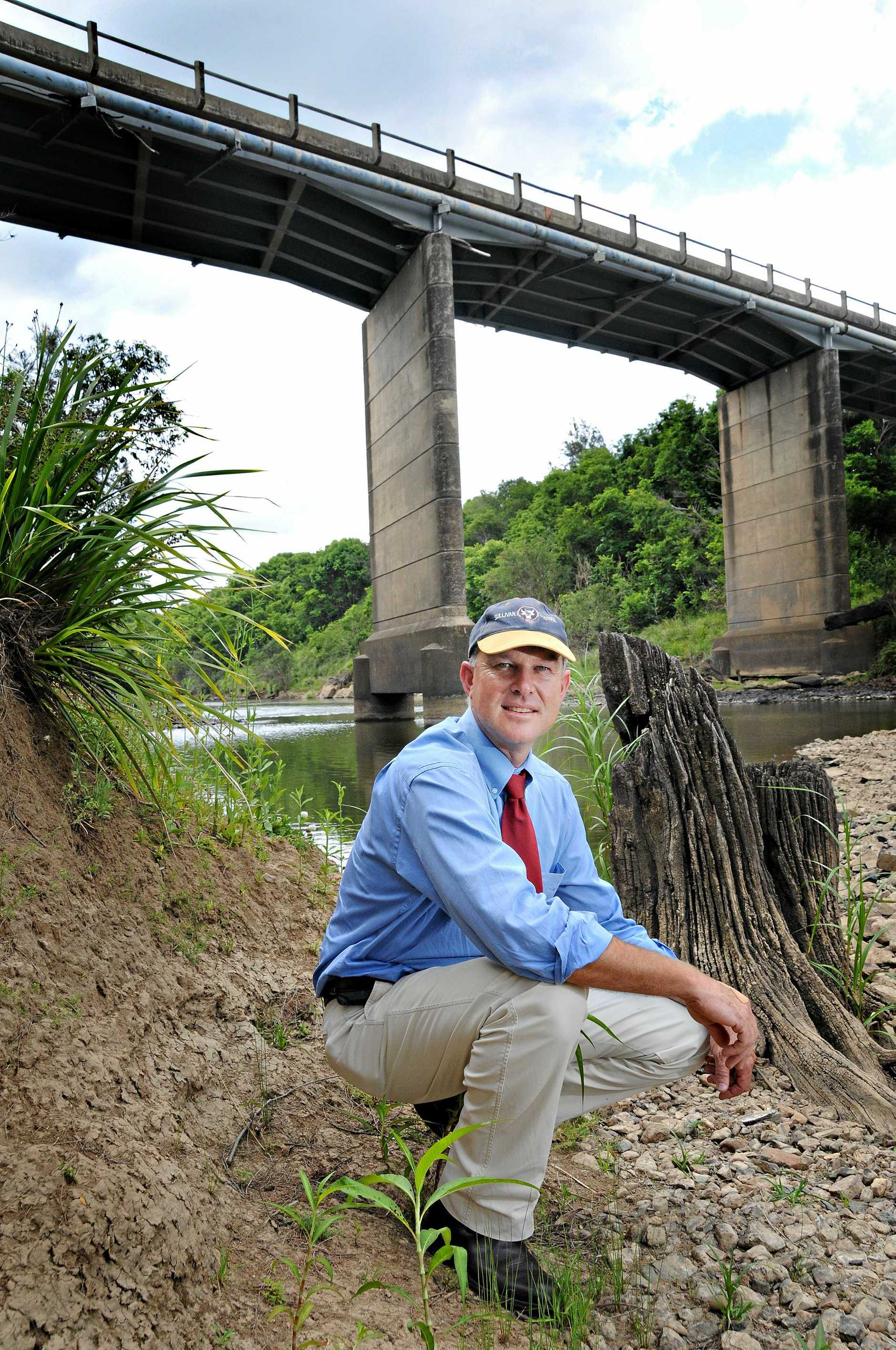Gympie MP Tony Perrett under Normanby Bridge.