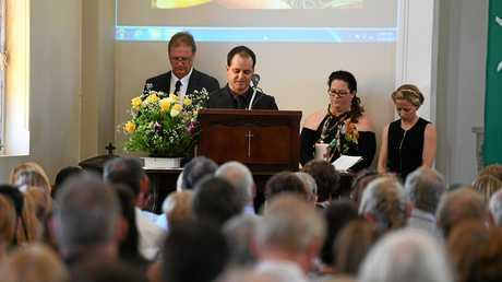 LEARNED FROM THE BEST: Axel Mammino speaks about his dad at the funeral of Anthony Mammino, on January 25, 2017.