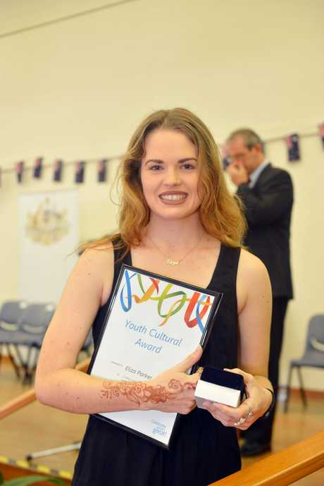 Australia day awards and Citizenship ceremony in Gympie Youth Cultural Award Eliza Parker.