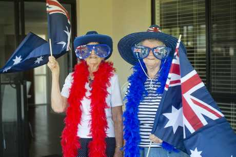 AUSSIE PRIDE: Jeannette Williams , 83, and Norma Halter, 87 celebrate Australia Day in style . Thursday Jan 26, 2017.