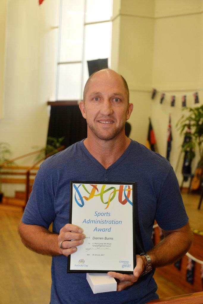 Ausralia day awards Darren Burns Sports administration.