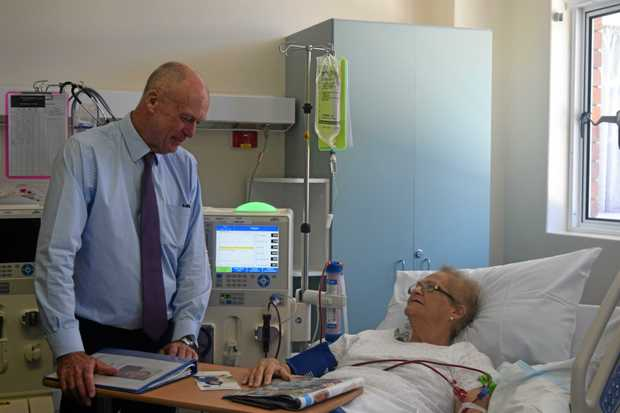 JOB WELL DONE: Pat Weir and dialysis patient June Parker celebrate the opening of the new renal unit Dalby Hospital.