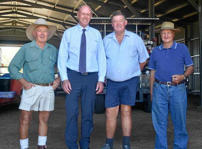 WELCOME BOOST: Show society president Frank Chiverton, Member for Condamine Pat Weir,   show society treasurer Rob Parsons and  show society vice president Graham Bradford.