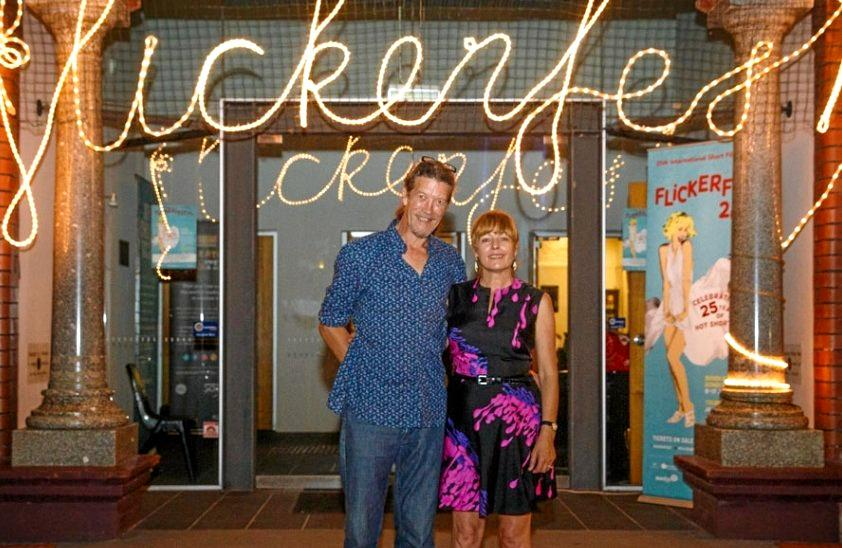 RED CARPET: Shane Rennie, tour manager, and Bronwyn Kidd, Flickerfest director, bringing the tour home to Mullum.