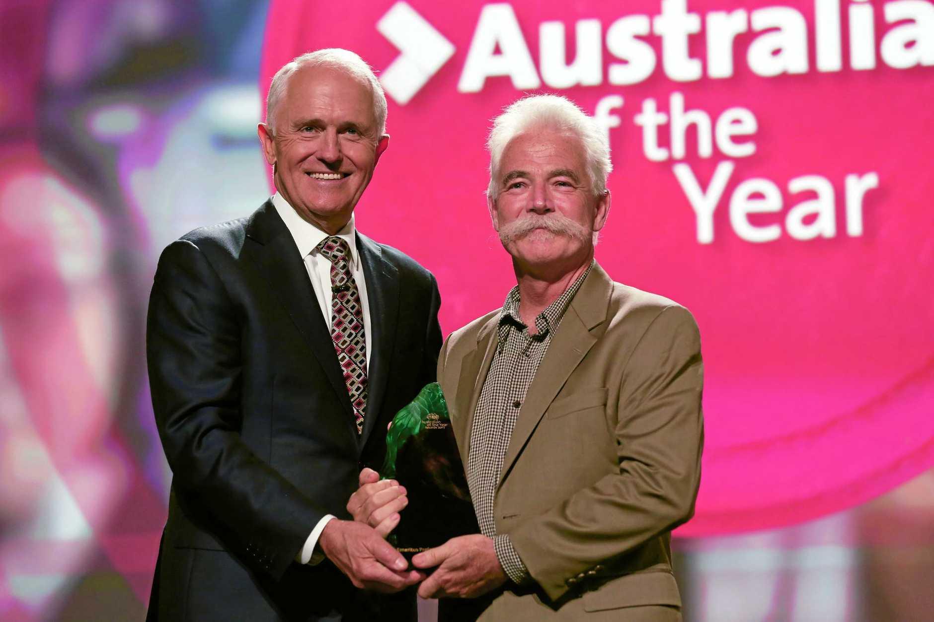 SURPRISE WIN: Prime Minister Malcolm Turnbull presents the Australian of the Year award to Professor Alan Mackay-Sim.