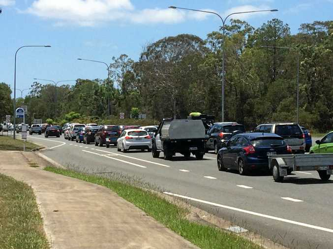 TRAFFIC CHAOS: Traffic is at a stand-still heading to Bribie Island.