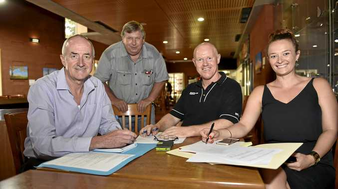 SELECTION PANEL: Darling Downs sports supporters (from left), The Chronicle sport journalist Glen McCullough, Perry Cronin, Tony Coonan and Sarah Green discuss who should be the first four inductees to the Toowoomba Sport Hall of Fame. Absent: Neil Brown.