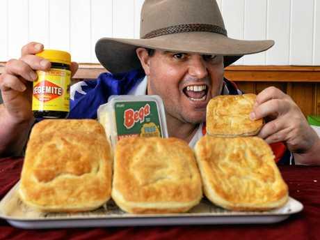 Fervale Bakery baker Bradley Gordon with the Vegemite and cheese pie.